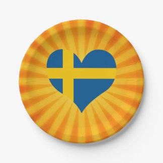 Suecia linda superventas plato de papel de 7 pulgadas