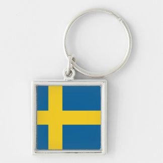 Suecia Llavero Cuadrado Plateado
