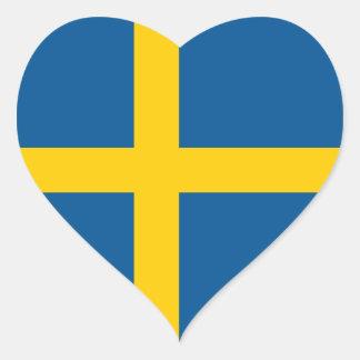 Suecia sueco bandera sueca del corazón pegatinas de corazon personalizadas
