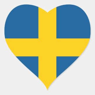 Suecia/sueco/bandera sueca pegatina en forma de corazón