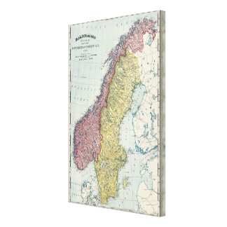 Suecia y Noruega 2 Impresiones En Lienzo Estiradas