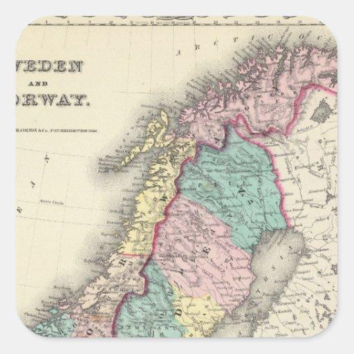 Suecia y Noruega Pegatina Cuadrada