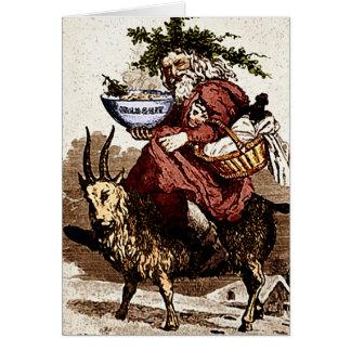 Sueco Santa y tarjeta de felicitación de la cabra