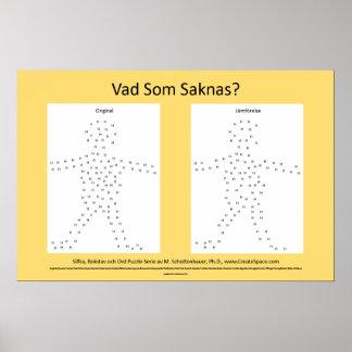 "Sueco/Svenska:  ""Cuál falta?"" Rompecabezas del pos Póster"