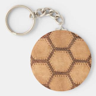 Suede fabric hexagon tan soft pattern keychain