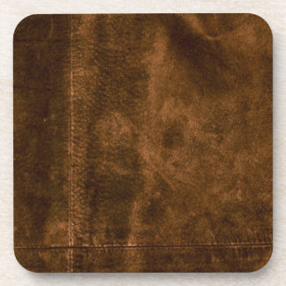 Suede Seam Look of Leather Drink Coaster
