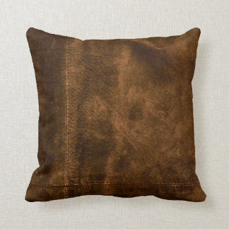 Suede Seam Look of Leather Throw Pillow