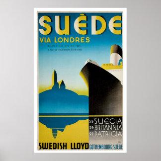 Suede Sweden Vintage Ship Advertisement Poster