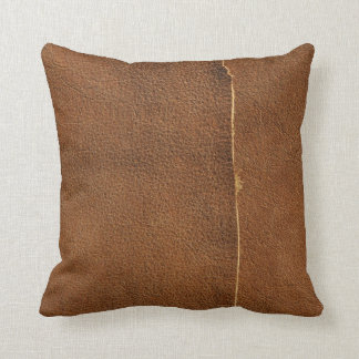 Suede Tan Line Look of Leather Throw Pillow