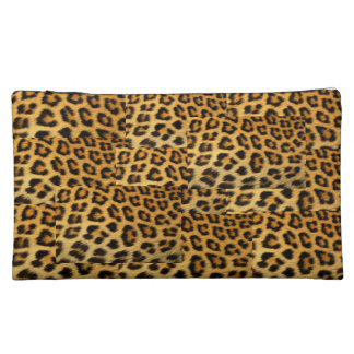 Sueded Medium Leopard Print Cosmetic Bag
