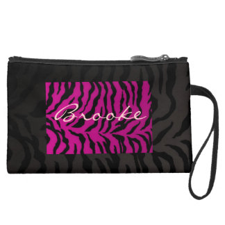 Sueded Mini Clutch  Black And Pink Zebra Design