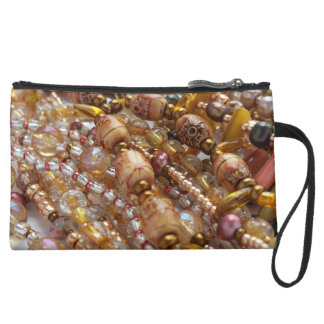 Sueded Mini Clutch- Natural Earthtone, Beads Print Suede Wristlet Wallet