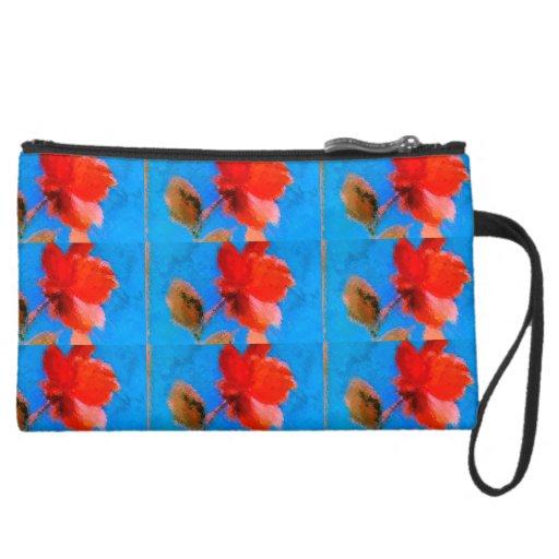 Sueded Mini Clutch Red Flower Sky Blue Background Wristlet Purses