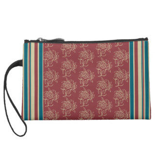 Sueded Wristlet Maroon Mini-print and Stripes
