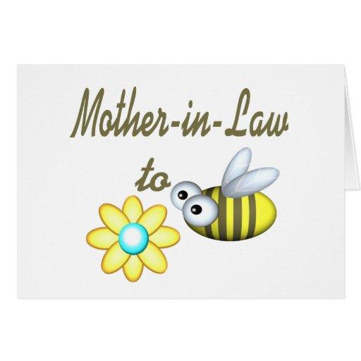 Suegra a la abeja tarjeta de felicitación