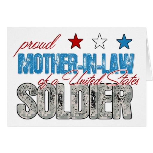 Suegra orgullosa de un soldado de Estados Unidos Tarjeta De Felicitación