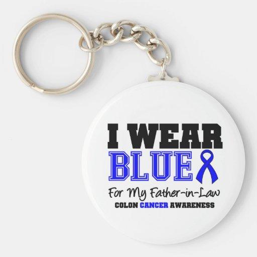 Suegro de Blue Ribbon del cáncer de colon (deporti Llaveros