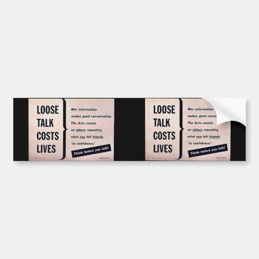 Suelte las vidas de los costes de la charla etiqueta de parachoque