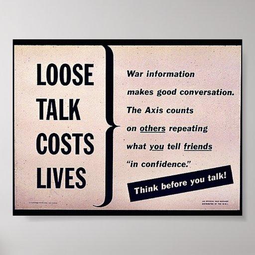 Suelte las vidas de los costes de la charla posters