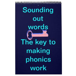 Suene hacia fuera redacta la lectura fonética calendario de pared