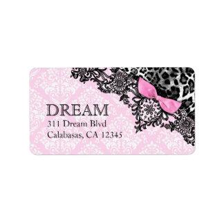 Sueño 311 en leopardo y damasco rosado femenino de etiqueta de dirección