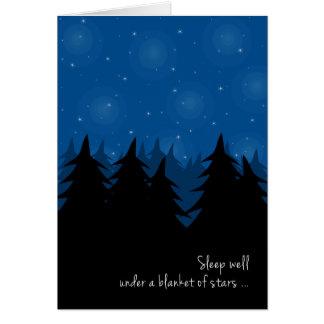 Sueño bien debajo de la manta de las estrellas tarjeta de felicitación