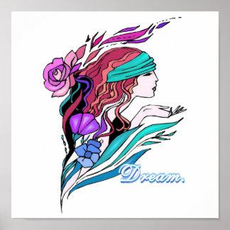 sueño bonito del chica de la fantasía poster
