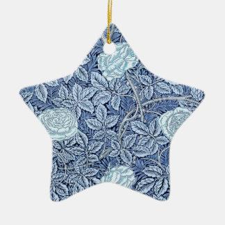 Sueño color de rosa azul adorno navideño de cerámica en forma de estrella