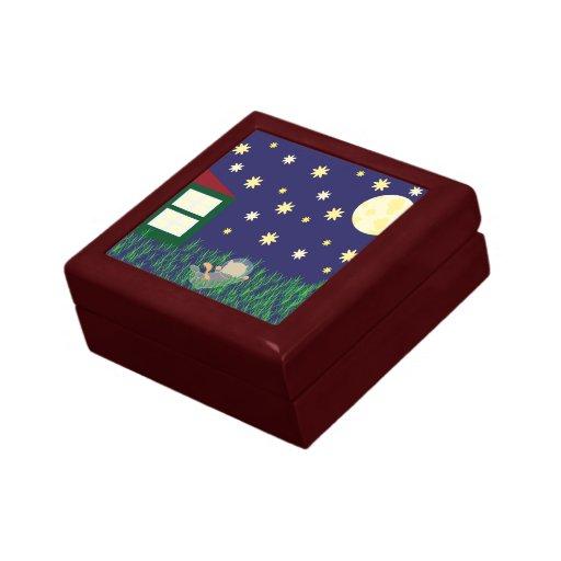 Sueño con el giftbox del gato del espacio joyero cuadrado pequeño