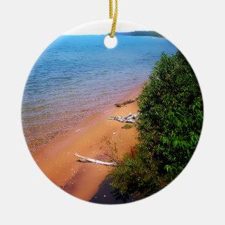 Sueño con el lago Michigan Adorno Navideño Redondo De Cerámica