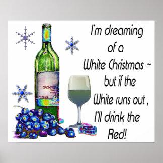 Sueño con el poster chistoso del navidad del vino