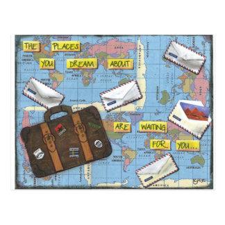 Sueño con el viaje - ilustraciones de las técnicas tarjeta postal