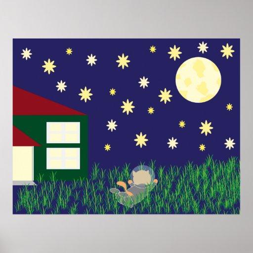 Sueño con la impresión del gato del espacio poster