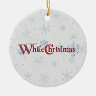 Sueño con la nieve del navidad adorno redondo de cerámica