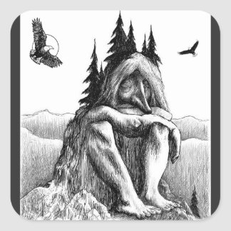 Sueño con las ilustraciones del bosquejo de Eagles Pegatina Cuadrada