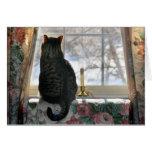 Sueño con navidad blanco - gato en la ventana tarjeton
