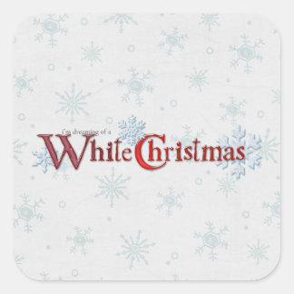 Sueño con navidad blanco pegatina cuadrada