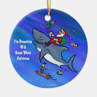 Sueño con navidad divertido el gran de un tiburón adorno navideño redondo de cerámica