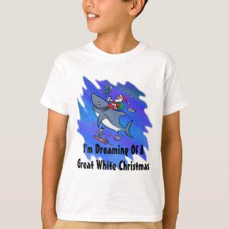Sueño con navidad el gran de un tiburón blanco playera