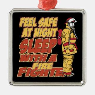 Sueño con un bombero adorno navideño cuadrado de metal