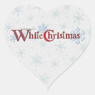 Sueño con un corazón del navidad blanco pegatina en forma de corazón