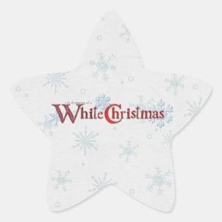 Sueño con una estrella del navidad blanco pegatina en forma de estrella