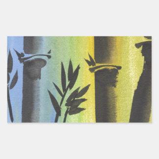 Sueño de bambú rectangular pegatinas