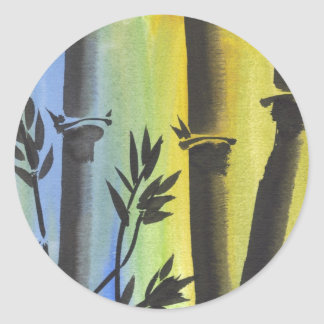 Sueño de bambú pegatina redonda