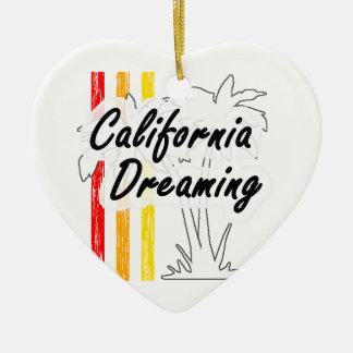 Sueño de California Adorno Navideño De Cerámica En Forma De Corazón