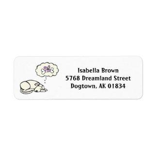 Sueño de etiquetas del remite del perro etiqueta de remite