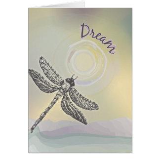 Sueño de la libélula tarjeta de felicitación