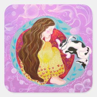 Sueño de la mujer y del gato pegatina cuadrada