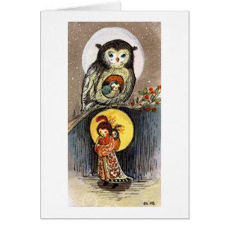 Sueño de la noche de la luna del búho tarjeta pequeña