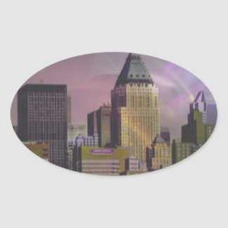 Sueño de la violeta de Nueva York Colcomanias De Óval